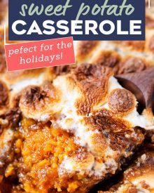 Classic Sweet Potato Casserole, perfectly seasoned with Fall spices and topped with a pecan crumble and gooey marshmallows. Perfect as a traditional or make-ahead side dish for Thanksgiving! #Thanksgivingrecipe #sweetpotato #casserole #sidedish #pecan #marshmallow