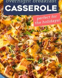 This easy make ahead breakfast casserole is a true family favorite! Made with eggs, bread, sausage, bacon and plenty of cheese, it's perfect for a holiday breakfast, or anytime! #breakfastcasserole #breakfast #brunch #breakfastrecipe #holiday #christmas #easter #mothersday #fathersday #breakfastbake