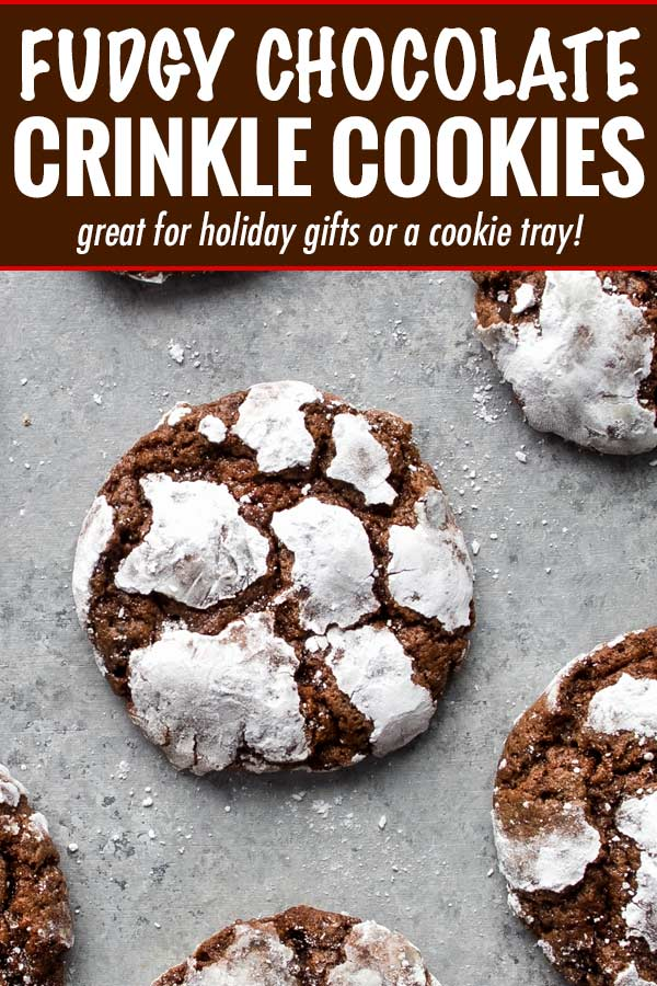 Fudgy and moist, these Chocolate Crinkle Cookies are a wonderful combination of cookies and brownies, and all with that classic crackly top that makes them a favorite for Christmas baking! #cookies #crinkle #Christmas #cookietray #chocolate #brownie #baking #dessertrecipe #cookierecipe #holidaybaking