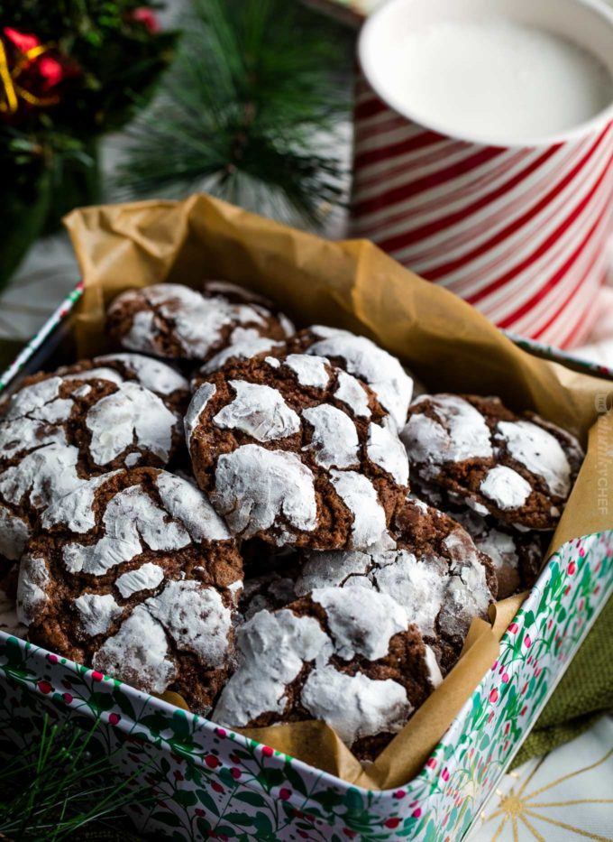 Chocolate crinkle cookies in Christmas tin