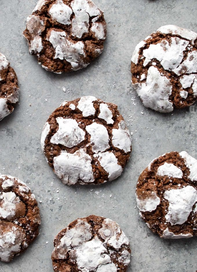 Overhead view of group of chocolate crinkle cookies