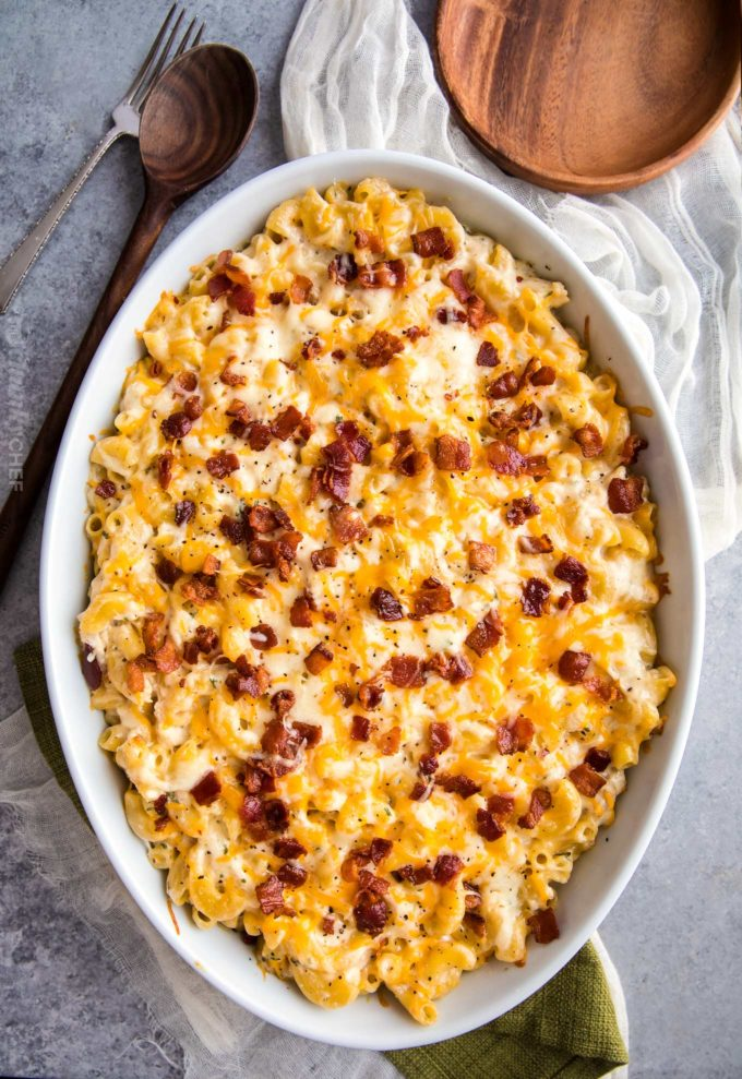 Chicken bacon ranch casserole in dish