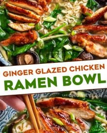 This Ginger Glazed Chicken Ramen recipe is ready in less than an hour, and tastes like you spent hours slaving over it! Rich broth, sweet and savory chicken, and classic noodles... perfect Asian-style comfort food! #ramen #ramenrecipe #chicken #asian #easyrecipe #weeknightrecipe #ramennoodles
