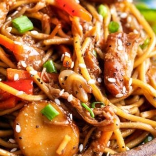 "This Crockpot Chicken Lo Mein is the perfect weeknight meal!  Packed with bold flavors, plenty of veggies, and with only 20 minutes of actual ""work"", it's a much better alternative to Chinese takeout. #Chinesefood #asianrecipe #crockpot #slowcooker #easyrecipe #weeknightmeal #chickenlomein #takeoutfakeout"