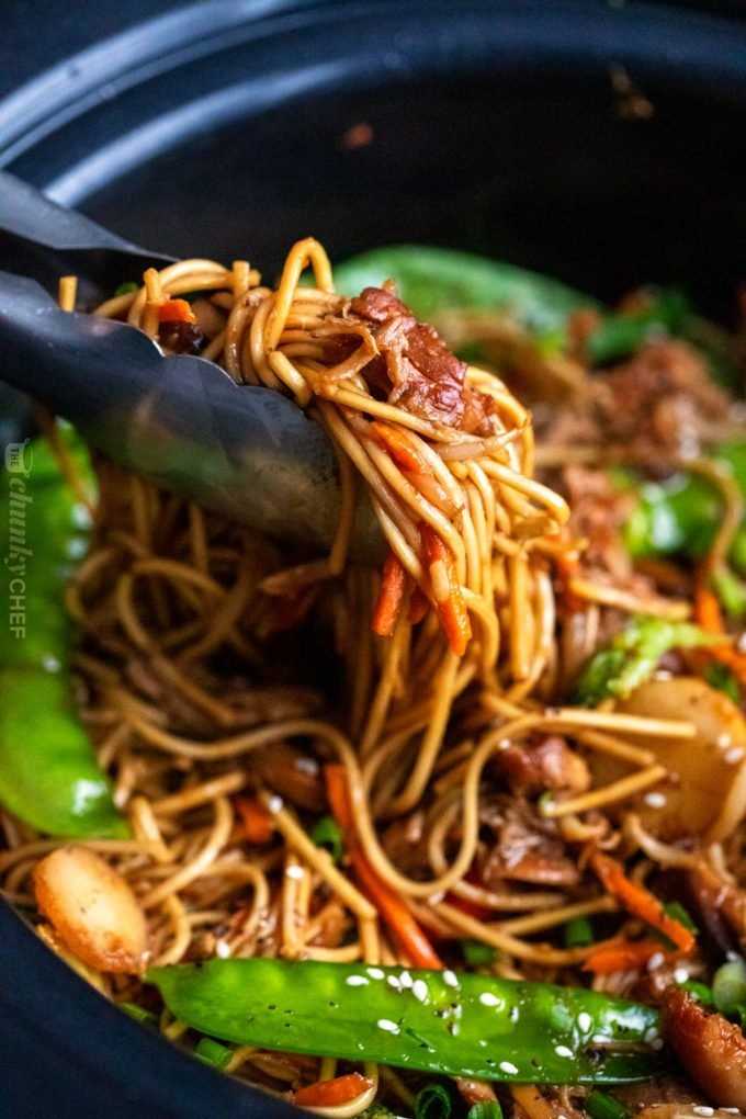 Serving slow cooker chicken lo mein