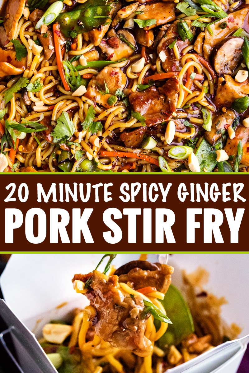 No need for takeout, this Garlic Ginger Pork Stir Fry is the perfect weeknight meal, as it's on the table in 20 minutes! #pork #stirfry #chinese #asian #takeout #weeknightmeal #easyrecipe #onepan #skillet