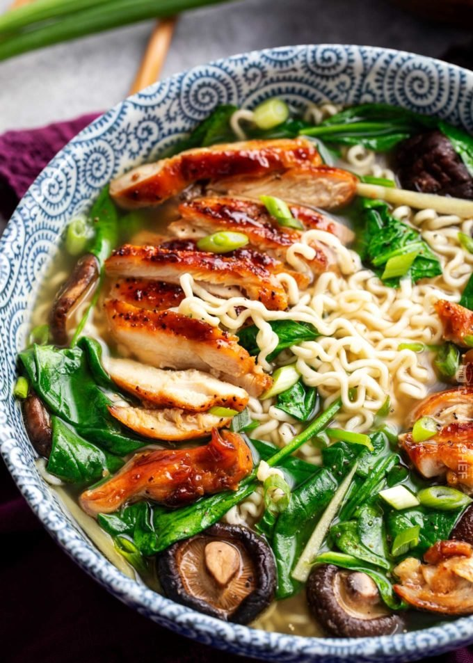 Glazed chicken in ramen bowl