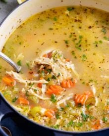 Fresh and light, this Lemon Chicken Orzo Soup is made in about 30 minutes, which makes it a perfect weeknight dinner recipe! #soup #dinnerrecipe #orzo #lemonchicken #chickensoup #stovetop #souprecipe #easyrecipe #weeknight #30minutemeal