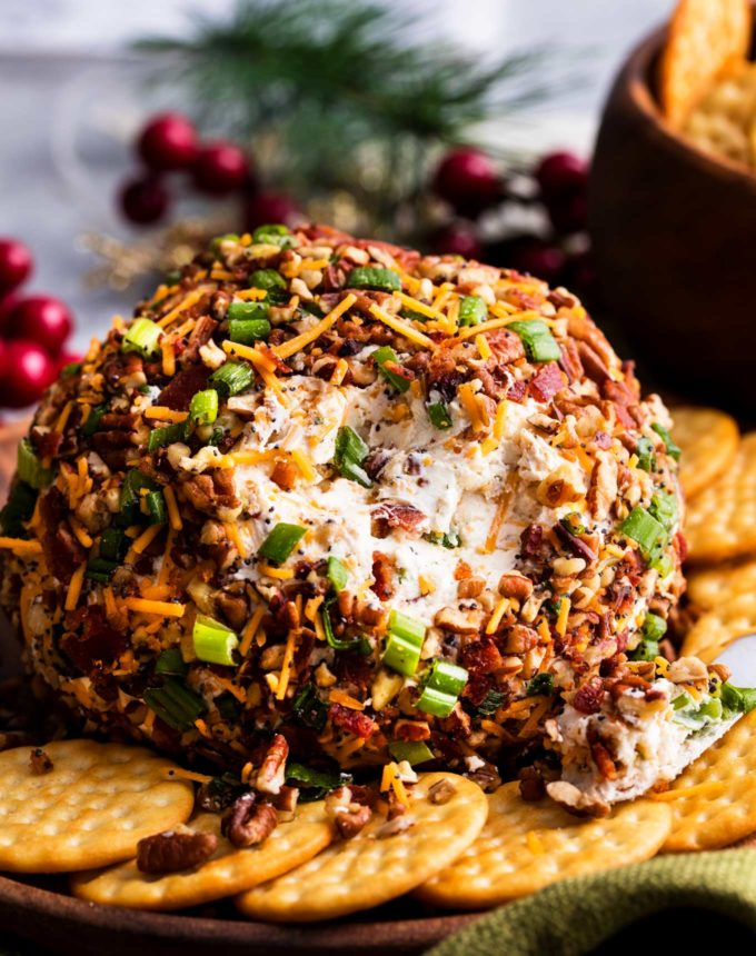 Bacon Ranch Cheese Ball Recipe surrounded by crackers