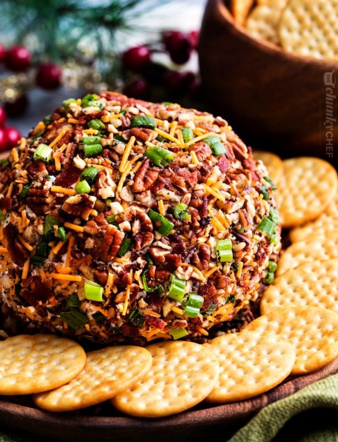 Bacon ranch cheese ball recipe on plate with crackers