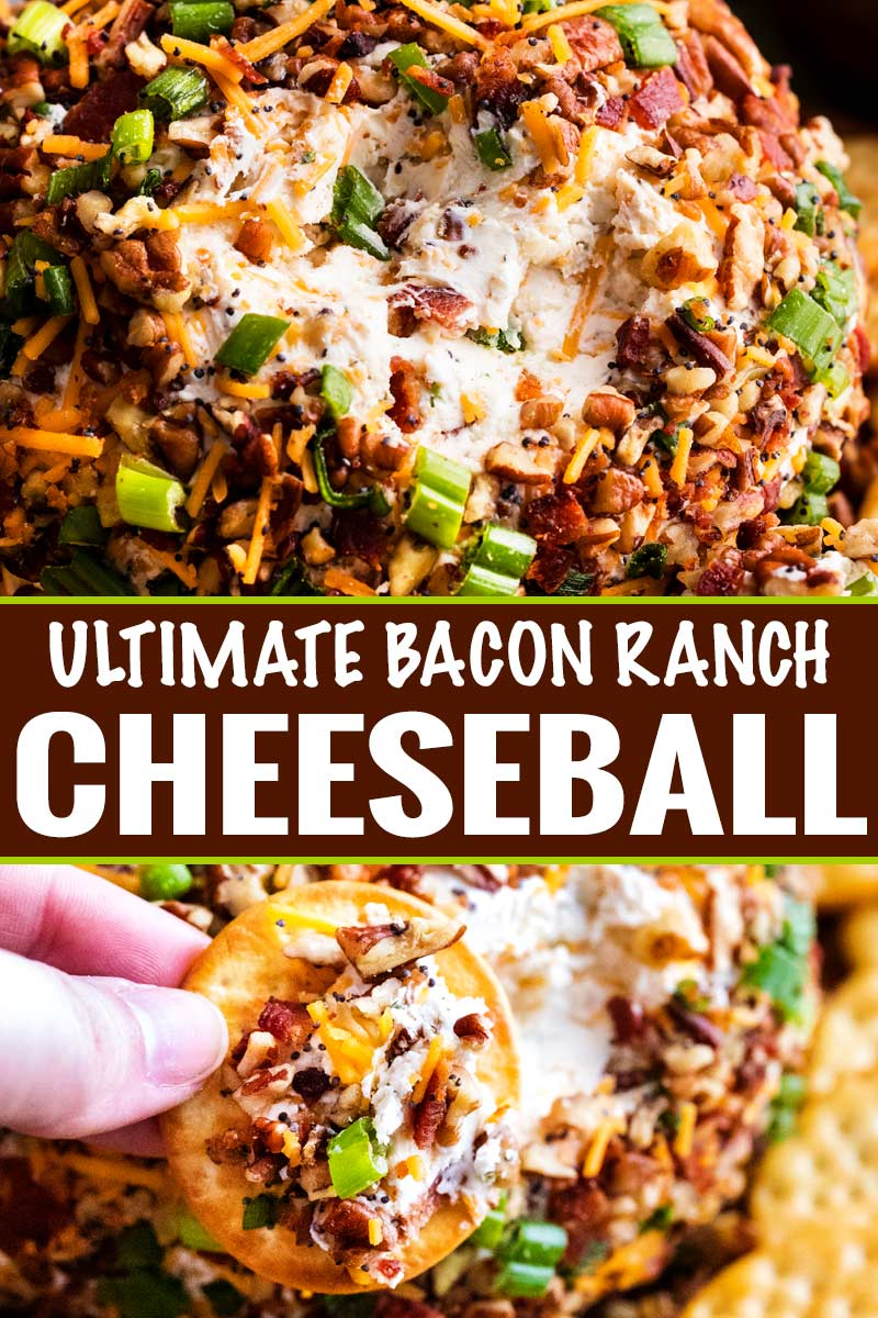 The Ultimate Bacon Ranch Cheese Ball is absolutely LOADED with bold flavors, and a perfect crowd-pleasing appetizer for any party! #appetizer #partyfood #cheeseball #baconranch #bacon #ranchrecipe #easyrecipe #makeahead