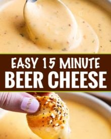 Just like the beer cheese from your favorite pub, this easy beer cheese sauce is made in 15 minutes or less, and PERFECT for dipping or topping your favorite foods! #beer #cheese #beercheese #appetizer #party #dip #sauce #gameday #easyrecipe