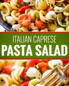 Caprese pasta salad made with tomatoes, marinated fresh mozzarella cheese, fresh basil, and a mouthwatering homemade Italian herb vinaigrette! #pastasalad #caprese #tomatobasil #italian #sidedish #potluck #bbq #summer