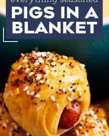 """Classic pigs in a blanket, made with cocktail franks and flaky crescent rolls, baked with sprinkle of savory """"everything"""" bagel seasoning! Always a crowd-pleaser, make these 4 ingredient gems for your next party! #pigsinablanket #crescentrolls #lilsmokies #cocktailfranks #everythingbagelseasoning #appetizer #partyfood #easyrecipe"""