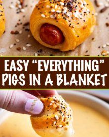 """Classic pigs in a blanket, made with cocktail franks and flaky crescent rolls, baked with sprinkle of savory """"everything"""" bagel seasoning! Always a crowd-pleaser, make these 4 ingredient gems for your next party! #pigsinablanket #crescentrolls #lilsmokies #everything #bagelseasoning #appetizer #partyfood #easyrecipe"""