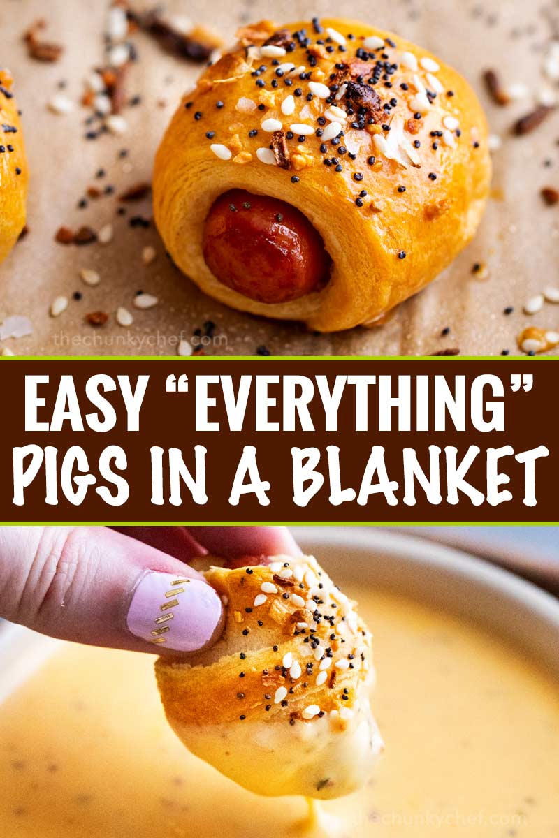 "Classic pigs in a blanket, made with cocktail franks and flaky crescent rolls, baked with sprinkle of savory ""everything"" bagel seasoning!  Always a crowd-pleaser, make these 4 ingredient gems for your next party! #pigsinablanket #crescentrolls #lilsmokies #everything #bagelseasoning #appetizer #partyfood #easyrecipe"