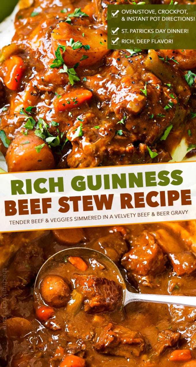 This Guinness beef stew is the only comfort food you'll need this winter! Rich gravy-like sauce, tender veggies and beef that literally melts in your mouth! #beefstew #irish #stpatricksday #stew #beef #guinness #coffee #slowcooker #crockpot #instantpot #pressurecooker