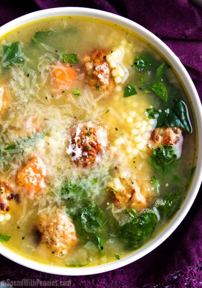 White bowl of Italian wedding soup. Easy soup recipe
