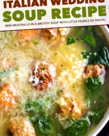 This Italian Wedding Soup is perfectly delicious comfort food, all year round.  Made in one pan, and ready in 30 minutes, this recipe is great for a weeknight meal! Crockpot and Instant Pot directions too! #soup #souprecipe #Italianweddingsoup #onepot #30minutemeal #weeknight #dinner #easyrecipe #homemaderecipe #instantpot #slowcooker