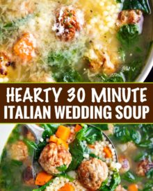 Light and filling, this Italian Wedding Soup is perfectly delicious comfort food, all year round.  Made in one pan, and ready in 30 minutes, this recipe is great for a weeknight meal! #soup #souprecipe #Italianweddingsoup #onepot #30minutemeal #weeknight #dinner #easyrecipe #homemaderecipe