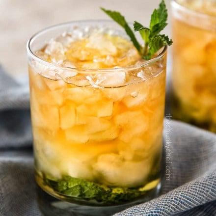 classic mint julep in clear glass