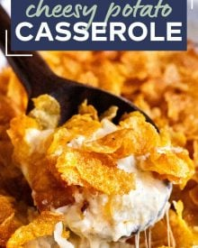 Funeral potatoes, aka Cheesy Potato Casserole, the hot side dish that EVERYONE loves.Perfect for any dinner, holiday or potluck! Rich and creamy potatoes topped with buttery cornflakes and baked until golden and crispy! #potatoes #cheesy #potatocasserole #funeralpotatoes #partypotatoes #sidedish #potluck #holiday #hashbrown #baked #casserole #Easter