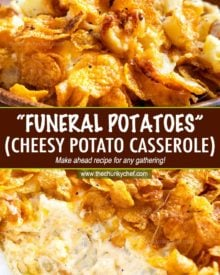 Funeral potatoes, aka Cheesy Potato Casserole, the hot side dish that EVERYONE loves. Perfect for any dinner, holiday or potluck!  Rich, cheesy and creamy hashbrown potatoes topped with buttery cornflakes and baked until golden and crispy! #potatoes #cheesy #potatocasserole #funeralpotatoes #partypotatoes #sidedish #potluck #holiday #hashbrown #baked #casserole