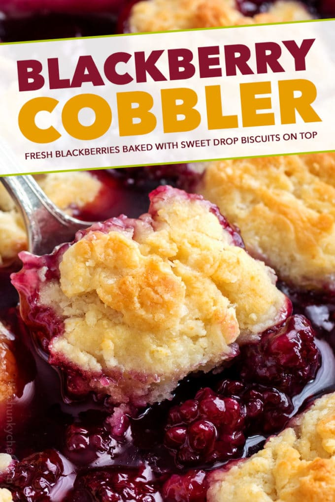 This easy summer Blackberry Cobbler is made with fresh berries and a sweet biscuit-like topping! Top with ice cream and enjoy! #cobbler #dessert #easyrecipe #blackberry #summerrecipe #berries #homemade #baking #berry
