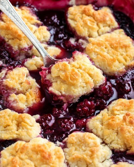 Scoop of blackberry cobbler