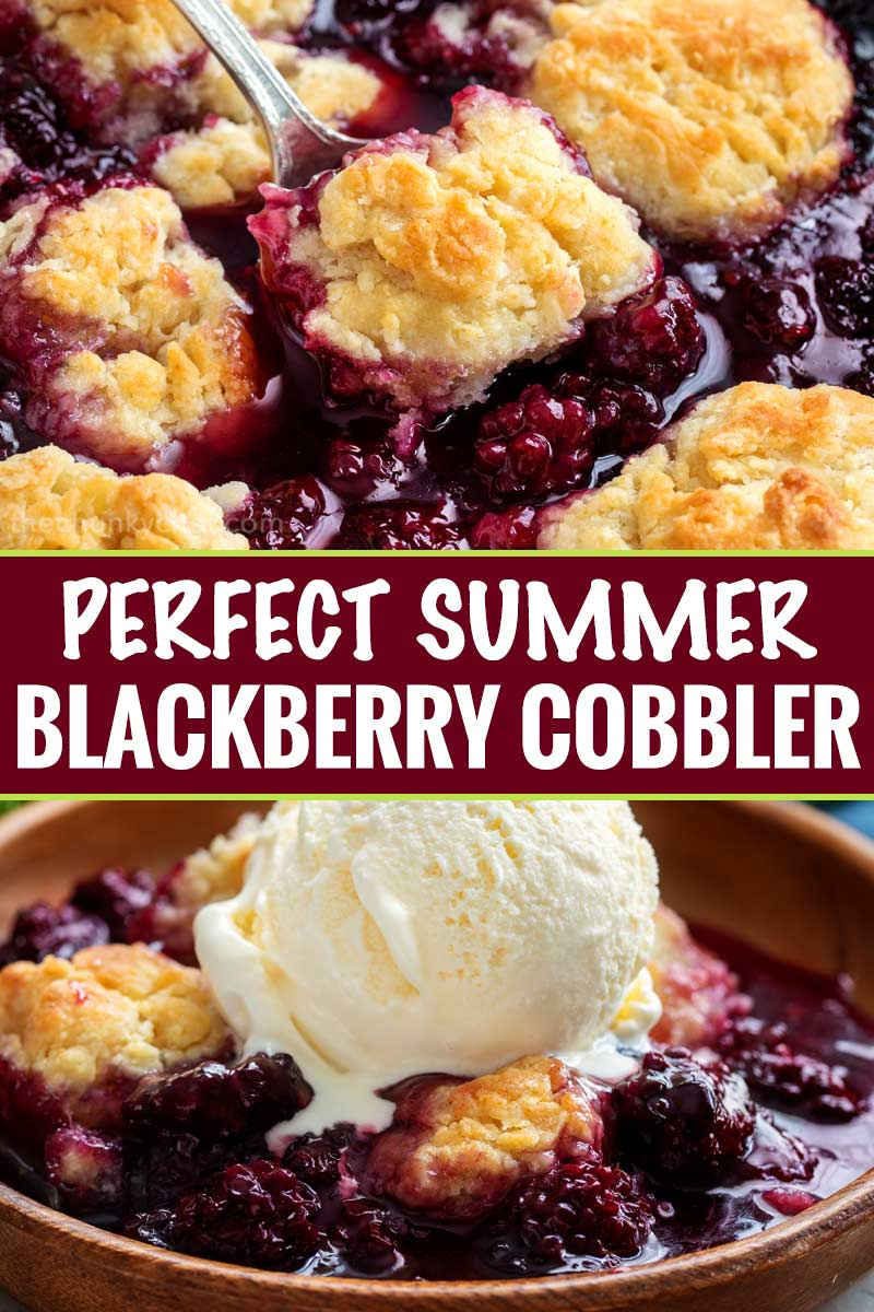 This easy summer blackberry cobbler is made with fresh berries and a sweet biscuit-like topping! Top with ice cream and enjoy! #cobbler #dessert #easyrecipe #blackberry #summerrecipe #berries #homemade