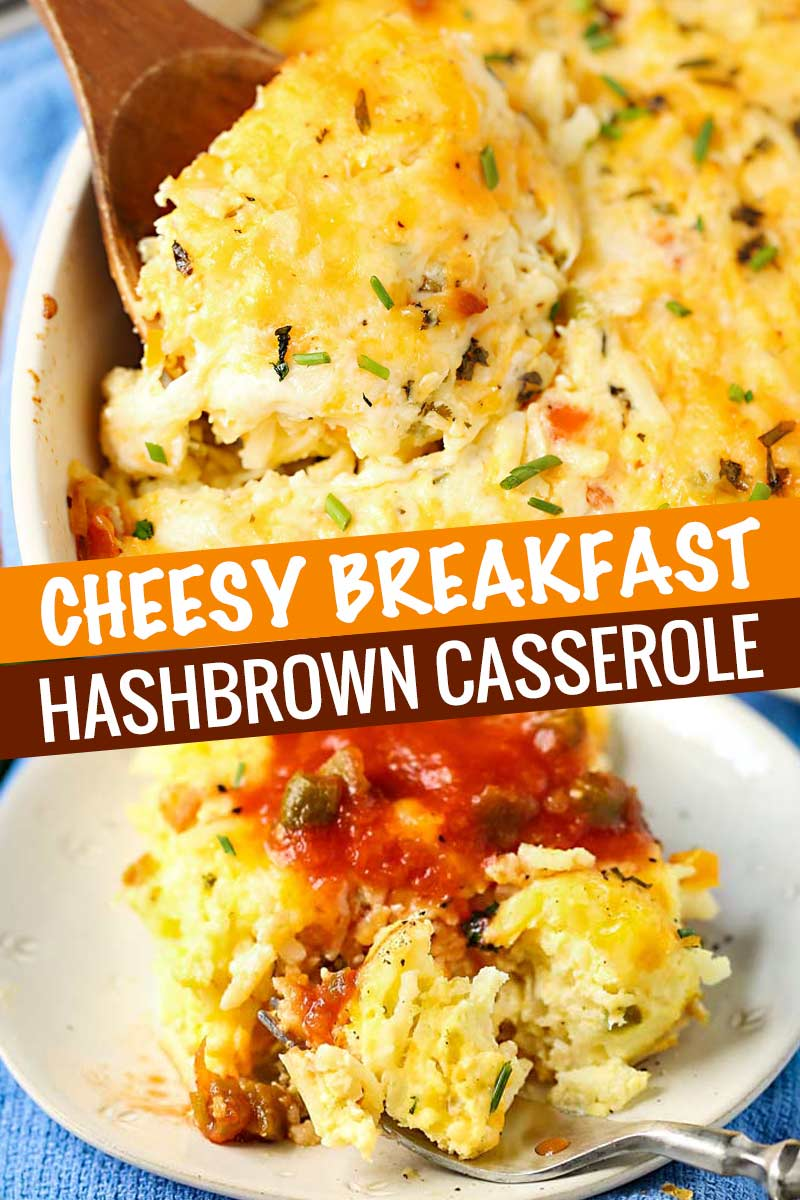 Perfect for feeding a crowd or a hungry family on the weekend, this hashbrown casserole is comforting, cheesy, full of fresh veggies, and can be made ahead for a busy holiday! #casserole #hashbrown #breakfast #easyrecipe #cheesy #vegetarian #baked #makeahead #overnight #holiday