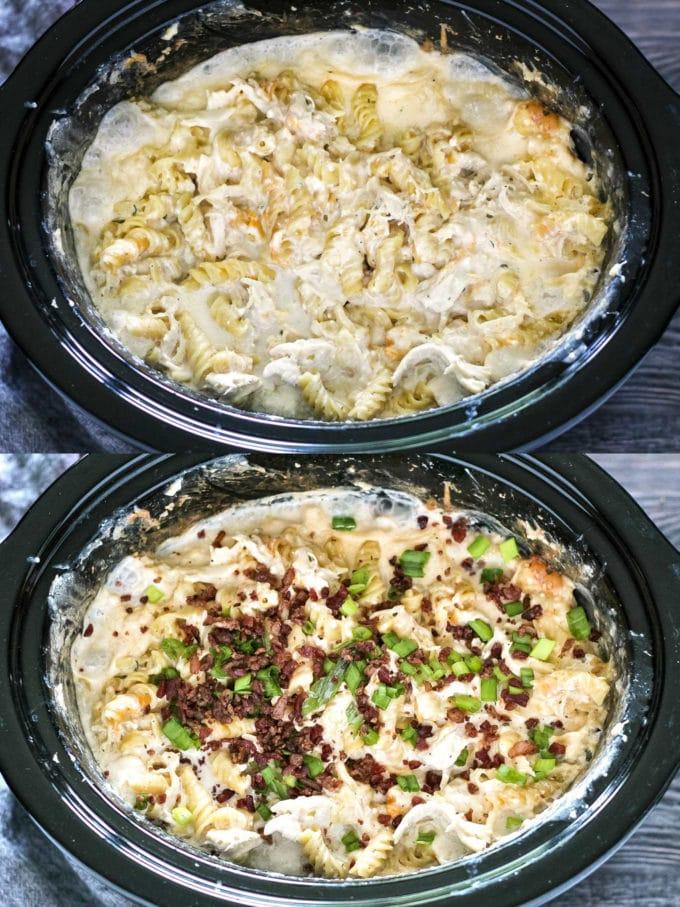 Making crockpot crack chicken pasta