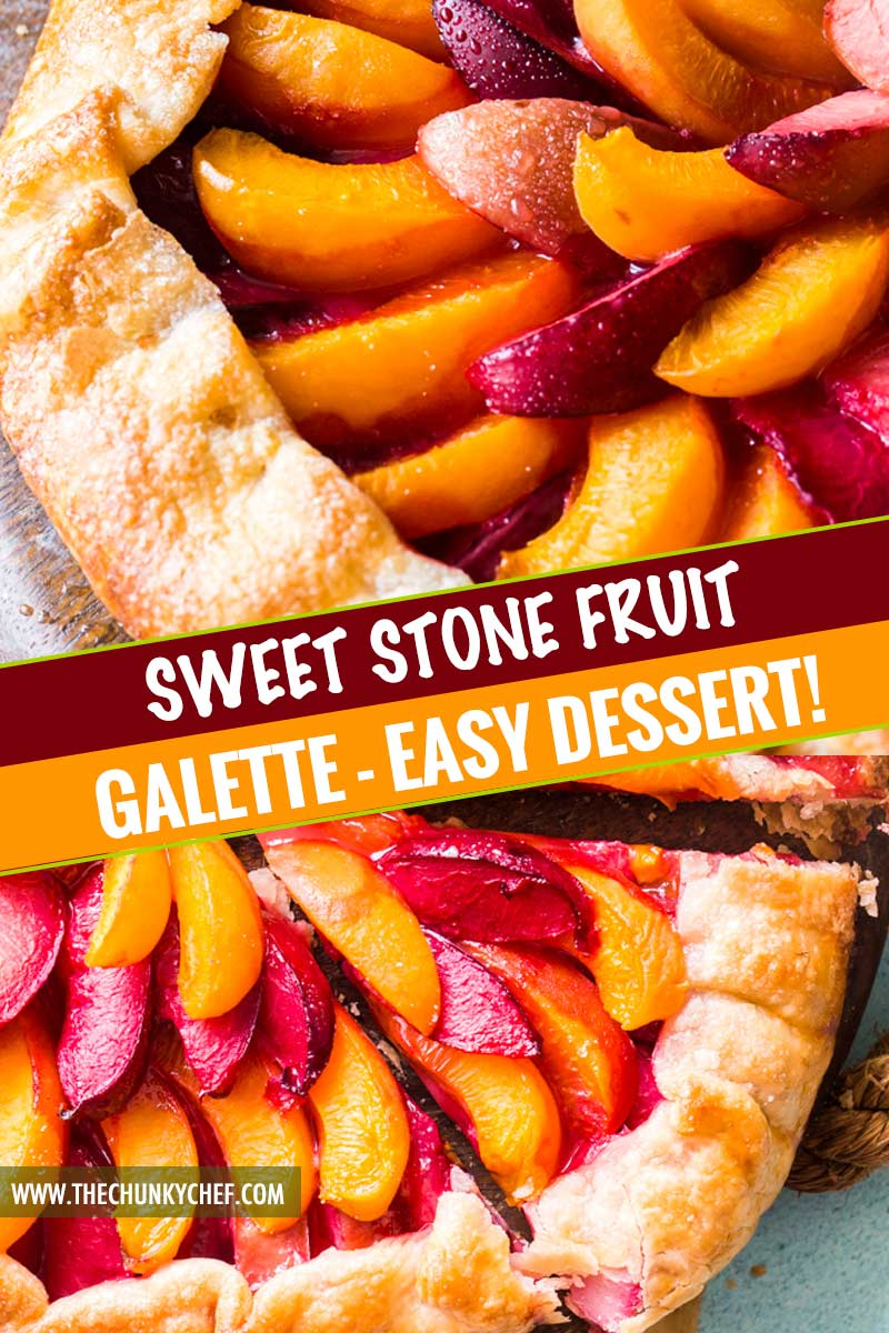 Every bit as mouthwatering as fruit pie, this stone fruit galette is a fuss-free way to enjoy the freshest seasonal fruits!  Tender pie crust envelopes a mixture of plums, apricots and sugar, and is perfect topped with a scoop of frosty vanilla ice cream! #pie #galette #dessert #easyrecipe #fruit #plum #piecrust