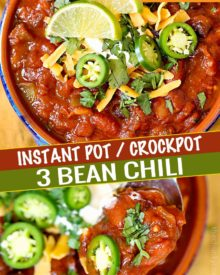 Incredibly flavorful and hearty, this 3 bean chili is made in the Instant Pot and ready in no time!  Vegetarian chili is perfect for game day, tailgating, and weeknight dinners! #chili #vegetarian #instantpot #crockpot #slowcooker #beans #party #gameday