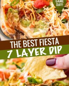 Always a huge crowd-pleaser, this 7 layer dip is literally layer upon layer of bold, mouthwatering flavors!  This appetizer is perfect for any game day party, or holiday gathering! #appetizer #party #gameday #layerdip #7layerdip #beandip #mexican #fiesta