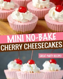 Rich and easy to make, this individual no-bake cherry cheesecake recipe is perfect for beginners and experts alike. Just 8 simple, common ingredients, and about 10 minutes of hands-on work! #cheesecake #nobake #dessert #cherry #minidessert #individualdessert #party #easydessert