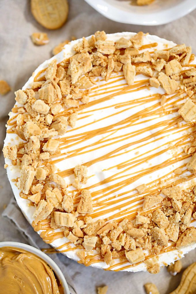 Easy no bake peanut butter pie with toppings
