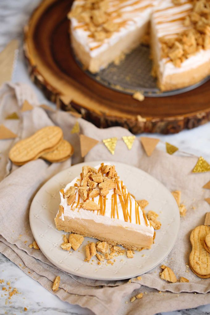 Slice of peanut butter pie on plate