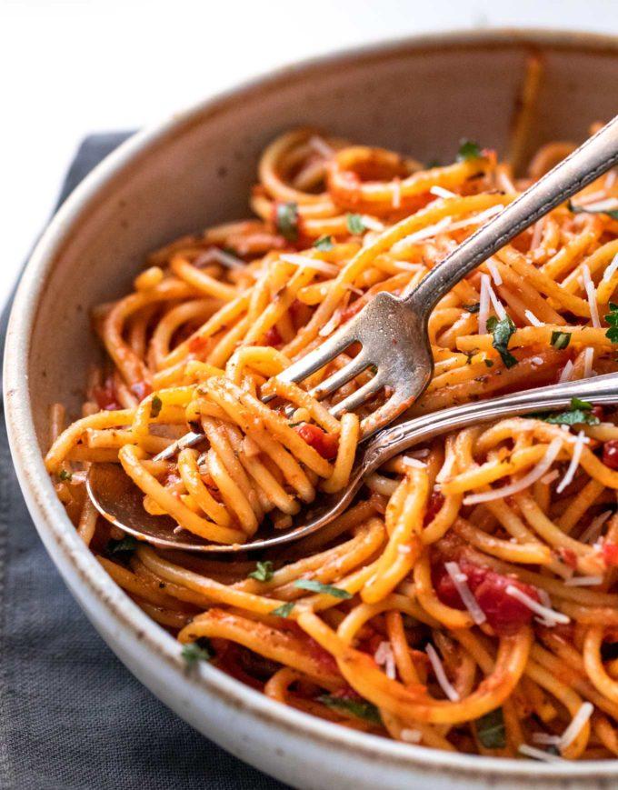 One pot spaghetti twirled around a fork