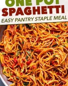 The easiest weeknight dinner, made almost entirely with only pantry ingredients! One pot to wash, and dinner is ready in 30 minutes! #spaghetti #italian #pasta #pantry #dinner #easyrecipe #weeknightmeal #onepot #onepan