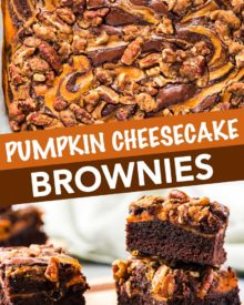 Fudgy brownie batter swirled together with creamy pumpkin cheesecake, then topped with a pecan streusel... it's the perfect Fall dessert!  Easy to make, and oh so incredibly delicious! #brownies #pumpkin #cheesecake #Fall #autumn #dessert #easyrecipe #baking