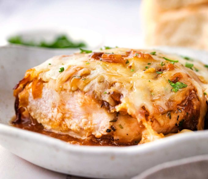 Slicing into french onion baked chicken