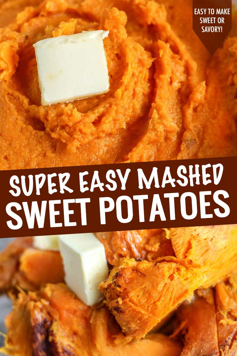 Ultra creamy mashed sweet potatoes (made sweet or savory), perfect for the holidays and made with just 3-4 ingredients!  Great to make ahead too! #sweetpotato #mashed #sweetpotatoes #thanksgiving #holiday #sidedish #easyrecipe #makeahead