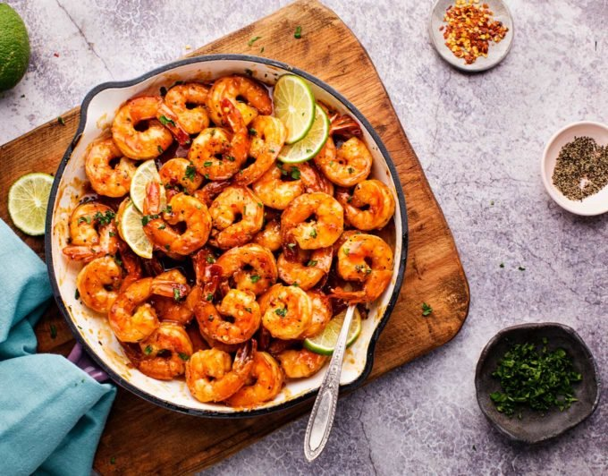 honey garlic shrimp recipe cooked in one pan