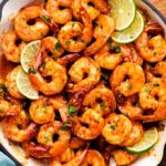 Honey lime shrimp in pan