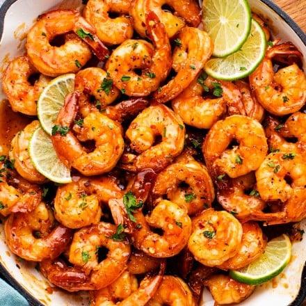 Honey lime shrimp in pan