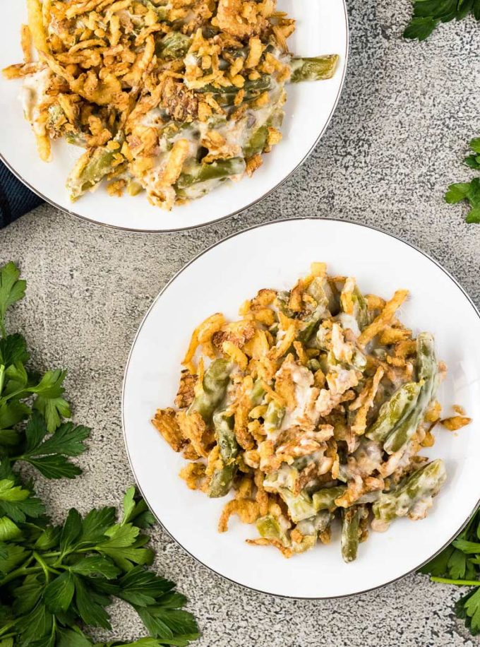 Two plates of green bean casserole