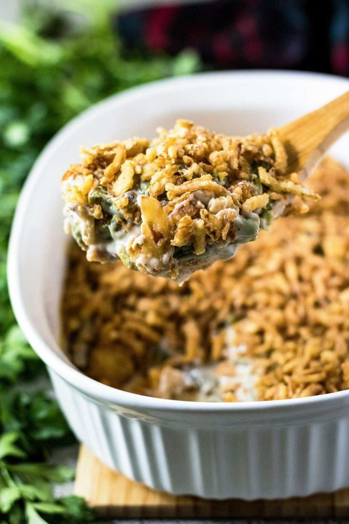 Serving spoonful of green bean casserole recipe