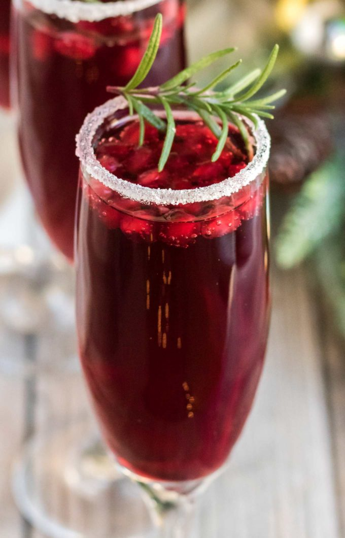 Close up of pomegranate mimosas