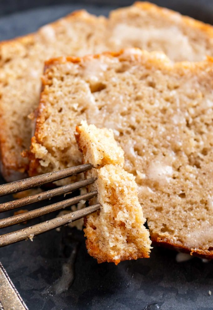 Forkful of eggnog quick bread